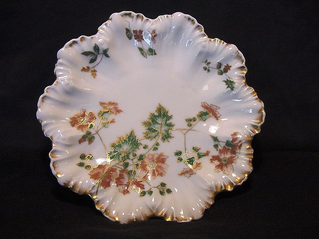 Exquisite Limoges Porcelain Cabinet Plate ~ Hand Decorated with Orange Flowers ~ A. Lanternier / PH Leonard (PHL) 1891-1914