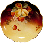 "Incredible Limoges Plate Hand Painted with Ripe Strawberries by Pickard Studio Artist ""Charles Hahn"" ~ Limoges France 1891 Pickard Studios 1903-1905"