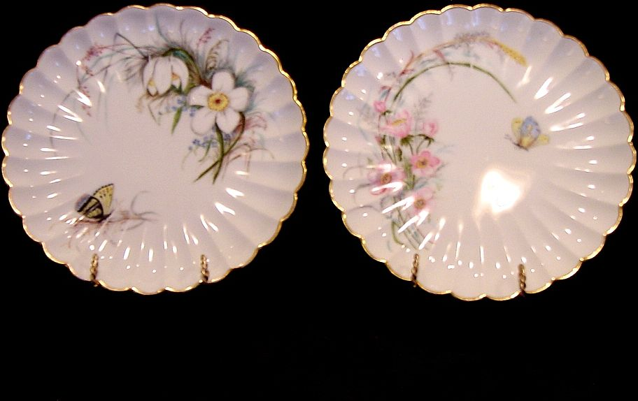 2 ~ Wonderful Old Limoges Porcelain Plates ~ Hand Painted with Flowers and Butterflies ~ Artist Initialed ~  Haviland & Co. 1888-1896