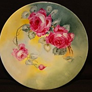 Wonderful Limoges Porcelain Cabinet Plate ~ Hand Painted with Red Roses ~ Artist Initialed ~ Jean Pouyat France 1890-1932