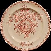 "Stunning Old Red Aesthetic Transferware Plate with Water Wheel Scene ~ ""Alaska"" pattern ~ Whittaker & Co. W & Co., Hanley, Staffordshire 1882-1886"