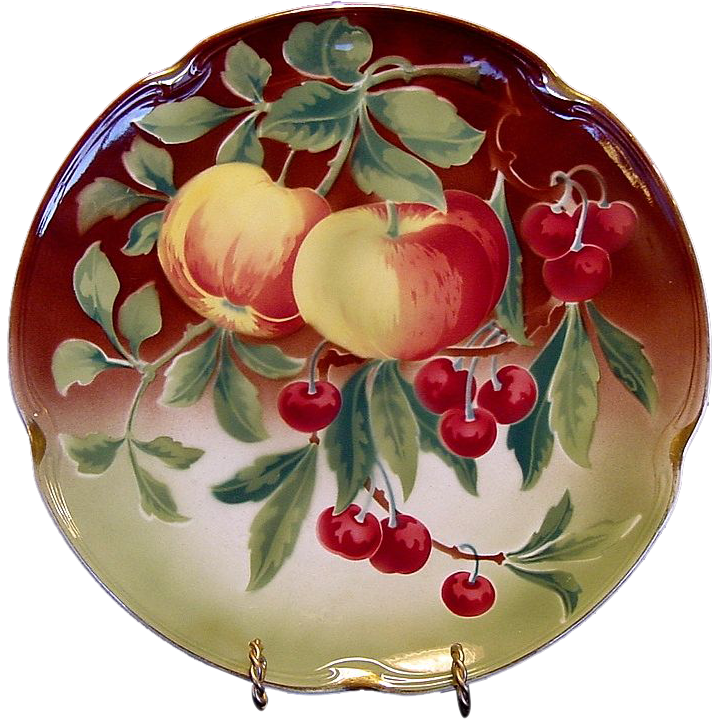"Wonderful  Majolica 12 ¼"" Charger with Apples and Cherries ~ KELLER & GUERIN - ca. 1890s - 1930s"