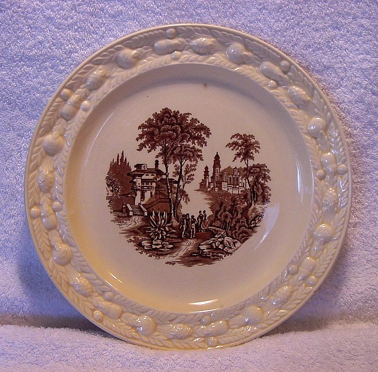 Wonderful Staffordshire Cabinet Plate ~ Brown Scenic Transfer ~ Adam Titan Ware~ GRIMWADES BROS. (ROYAL WINTON) (Staffordshire, UK) - ca 1930s - 1950s