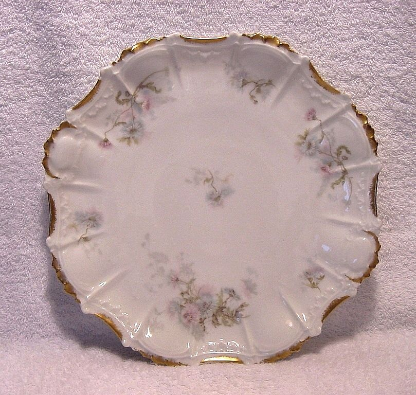 "Charger / Platter ~  12"" Limoges Porcelain  ~Factory Decorated with Soft Flowers ~ Coiffe, Tressemann & Vogt Limoges France 1891-1914"