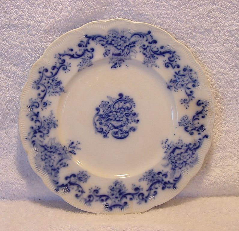 "Wonderful Old English Earthenware Flow Blue Plate with Cartouches and Flowers ~ ""Martha"" Pattern ~ Bridgett & Bates England ~ 1888"