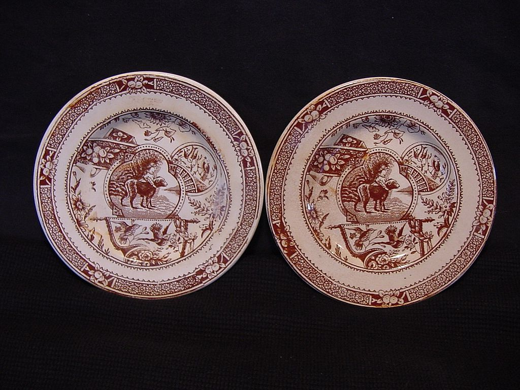 "Two (2) Awesome English Aesthetic Child's Plates ~ Brown / Red Transferware ~ ""May with Dog""  Little May Series #766 ~ Charles Allerton 1887"