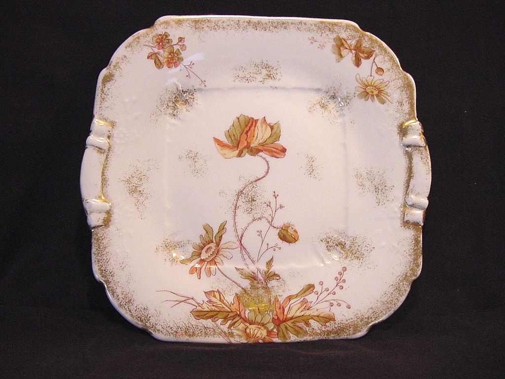 Wonderful Austrian Porcelain Ice Cream / Sandwich Plate Decorated with Poppies ~  P.H. LEONARD Austria 1917