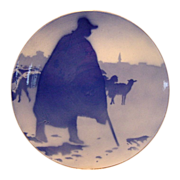 Unique French Faience Cabinet Plate / Plaque ~ Shepherd and Sheep ~ Keller & Guerin ~ Luneville France 1890-1914