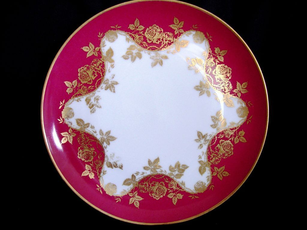 Wonderful Limoges Porcelain Cabinet Plate ~ Factory Decorated with Golden Roses ~ Haviland France 1893-1930