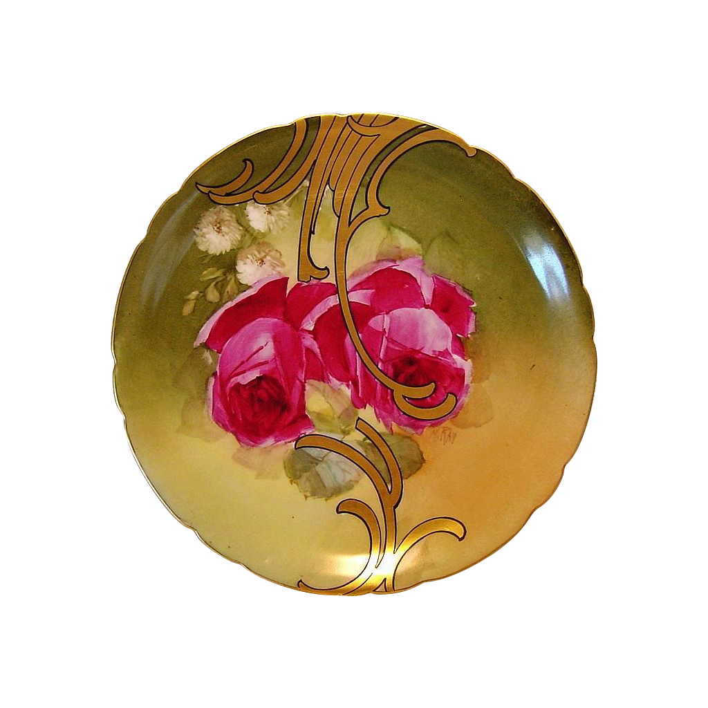 Awesome Limoges Porcelain Cabinet Plate ~ Hand Painted with Red Roses and Gold Design ~ Artist Signed ~ Jean Pouyat France 1890-1932
