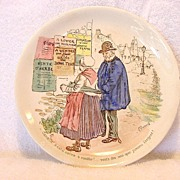 Neat French Plate with Transfer of Older Couple Reading Signs ~ UTZCHNEIDER & CO (Sarreguemines, France) - ca 1910s - 1930s