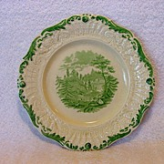 "Exquisite English Ridgways Plate with Green Transfer ~ ""Tyrolean"" Pattern ~ William Ridgway and Son 1838-1848"