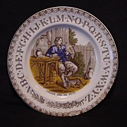"English Polychrome ABC (ALPHABET) Transferware Plate ""Robinson Crusoe With Pets"" ~BROWNHILLS POTTERY CO ~ Staffordshire England ~ c. 1880"