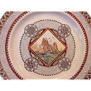 """Awesome English Aesthetic Transferware ~ Pattern """" Wisconsin"""" with Sailboat ~ Brownfield & Sons 1871-1891"""