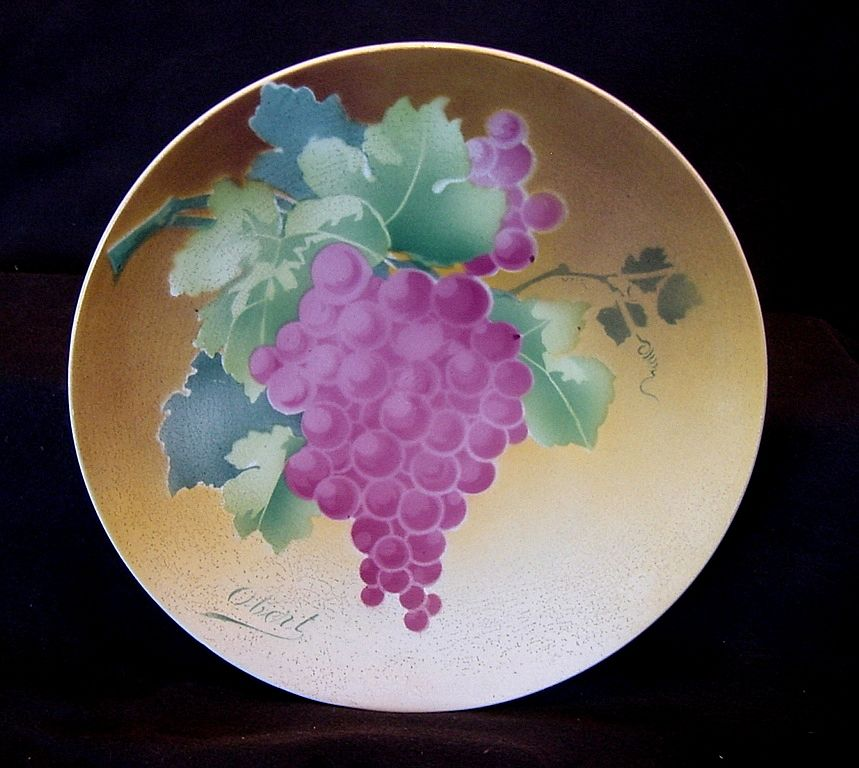 Majolica Cabinet Plaque / Plate with Reddish Purple Grapes ~ Signed Obert ~ KELLER & GUERIN - ERNEST BUSSIERE (Nancy, France) - ca. 1890s - 1930s
