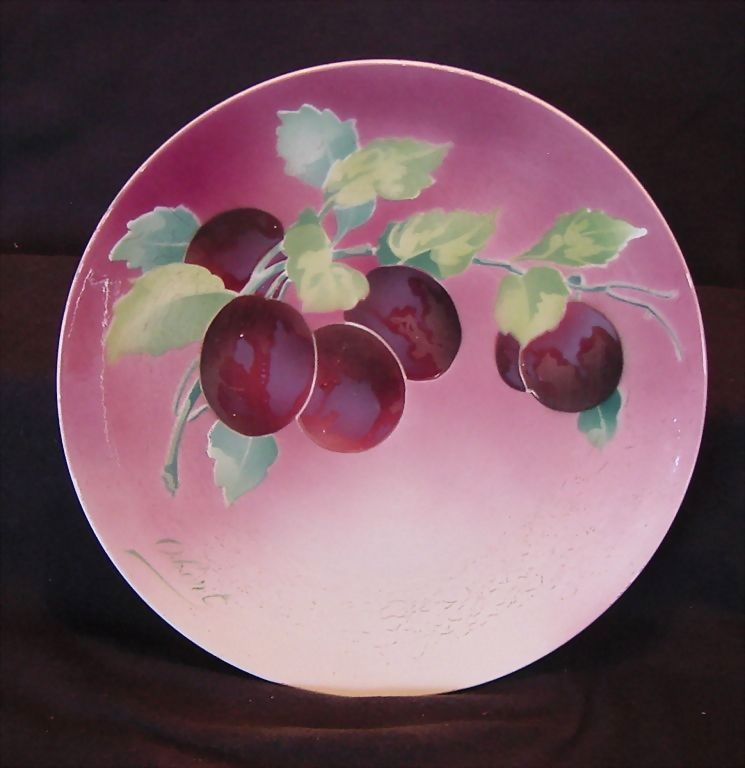Majolica Cabinet Plaque / Plate with Beautiful Purple Plums  ~ Signed Obert ~ KELLER & GUERIN - ERNEST BUSSIERE (Nancy, France) - ca. 1890s - 1930s
