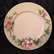 Beautiful Limoges Porcelain Plate Hand Painted with Pink/White Wild Roses – Plainemaison Freres Limoges -1890 to 1910