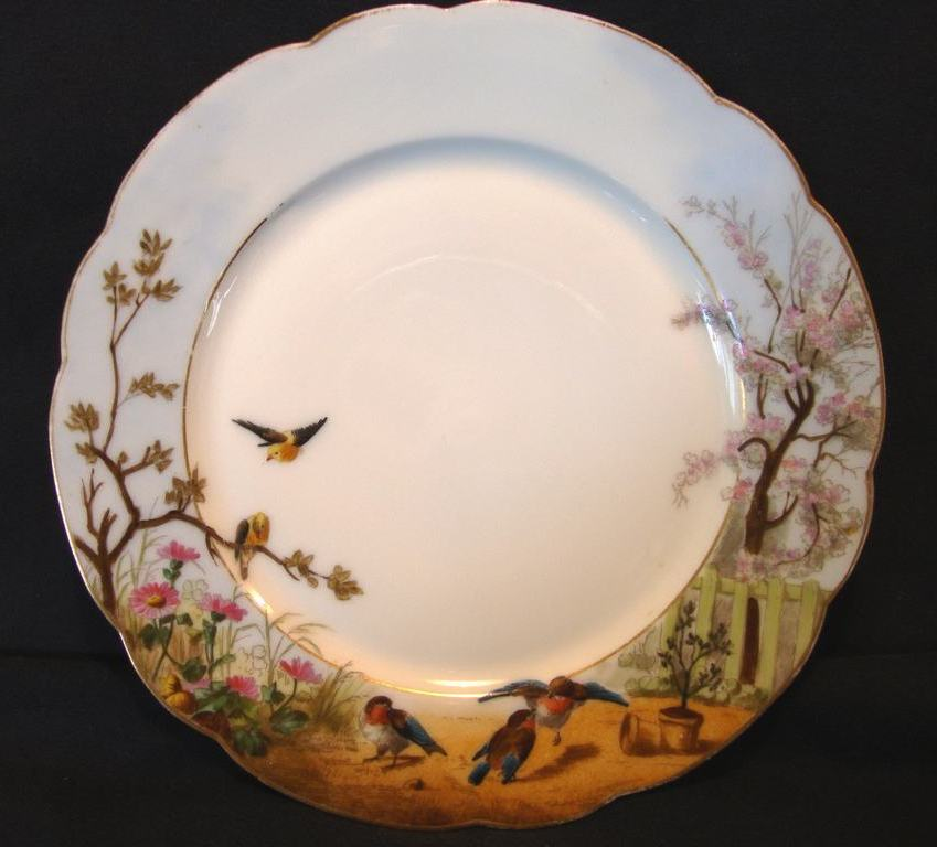 Delightful Limoges Porcelain Cabinet Plate ~Hand Painted with Blue Birds and Flowers ~ Charles Field Haviland France 1876