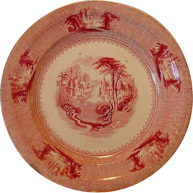 "Wonderful Old English Pink / Red Transferware ~ ""SIAM"" Pattern ~ J Clementson 1840-1869"
