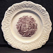 "Beautiful English Mulberry Transferware Plate ""Oriental"" Pattern ~ Ridgways 1879 – 1916 Hanley Staffordshire England"