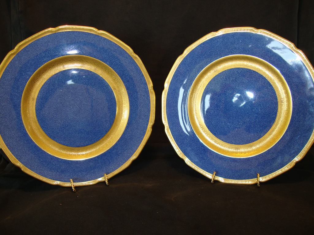 "2~Beautiful Royal Doulton 10 1/2"" Plates Deep Midnight Blue Gold Embossed ~ Pattern H2007 ~ Royal Doulton England 1924"