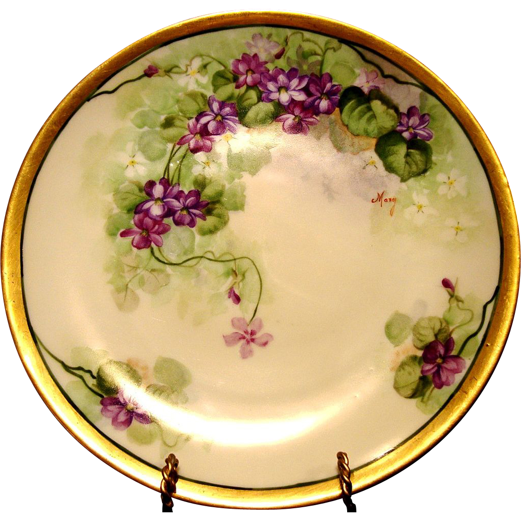 "Beautiful Limoges Porcelain Cabinet Plate ~ Hand Painted with Purple Violets by Artist ""Mary"" ~ Limoges France / A Lanternier Cie France after 1891+"