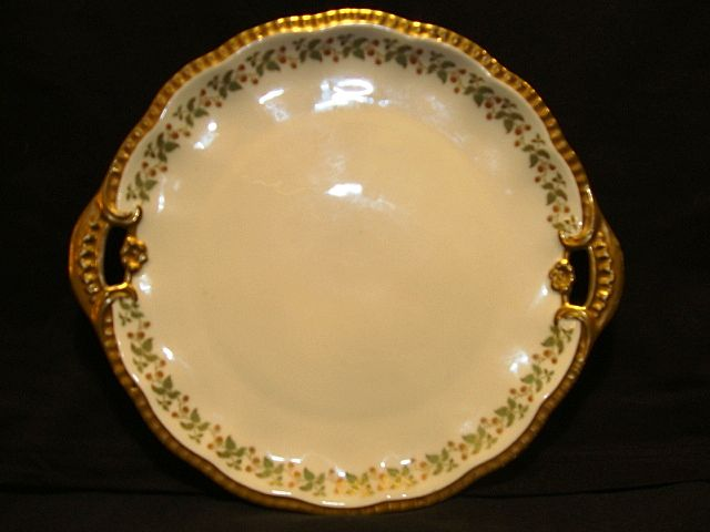 Perfect Cake Plate~ Limoges Porcelain ~ Hand Painted with Red Berries ~ Limoges France / A lanterniere Cie  After 1891