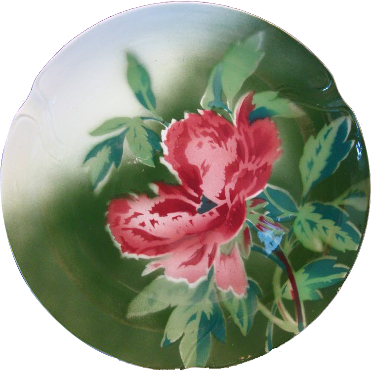 "Colorful French Faience Cabinet Plate 10 1/2""  ~  Red Poppies ~ Gien France 1920's"