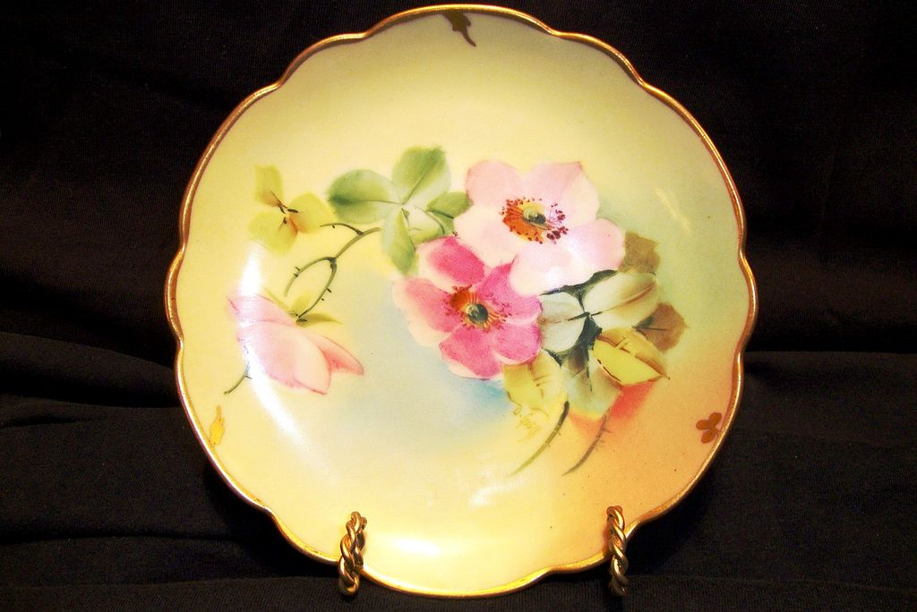 "Awesome Porcelain Plate Hand Painted with Wild Pink Roses by Pickard Studio Artist ""O. Goess""  - Pickard Studios Chicago IL 1905-1910"