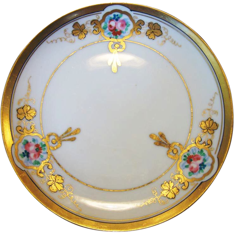 "Wonderful Porcelain 6 ½"" Plate ~ Decorated by Pickard Studio ~ Hand Painted ~Art Nouveau ~ Pink & Red Roses – Nippon / Pickard Studio Chicago IL1912-1918"