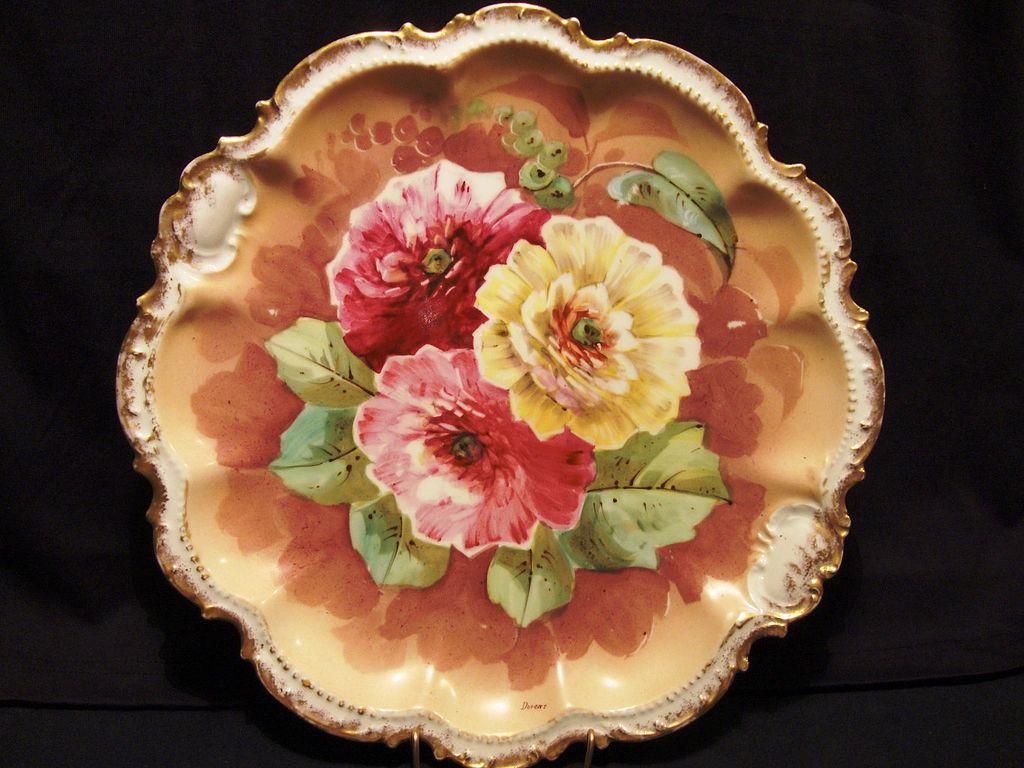 "Magnificent 12 ¼"""" Limoges Porcelain Charger ~ Hand Painted with Burgundy, Pink and Yellow Flowers ~ Artist ""Dupont"" Signed ~ George Borgfeldt ( Coronet ) France  1906-1920"