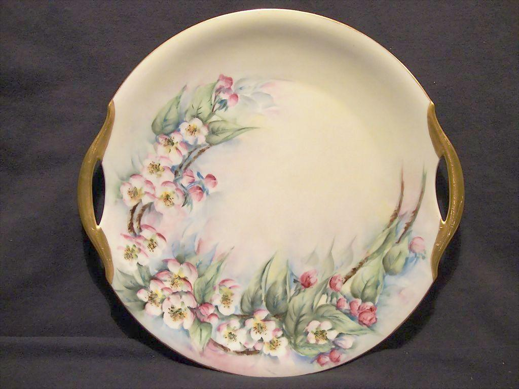 Gorgeous Bavarian Porcelain Cake Plate ~ Hand Painted with Pink Apple Blossoms ~ Bavaria 1920's