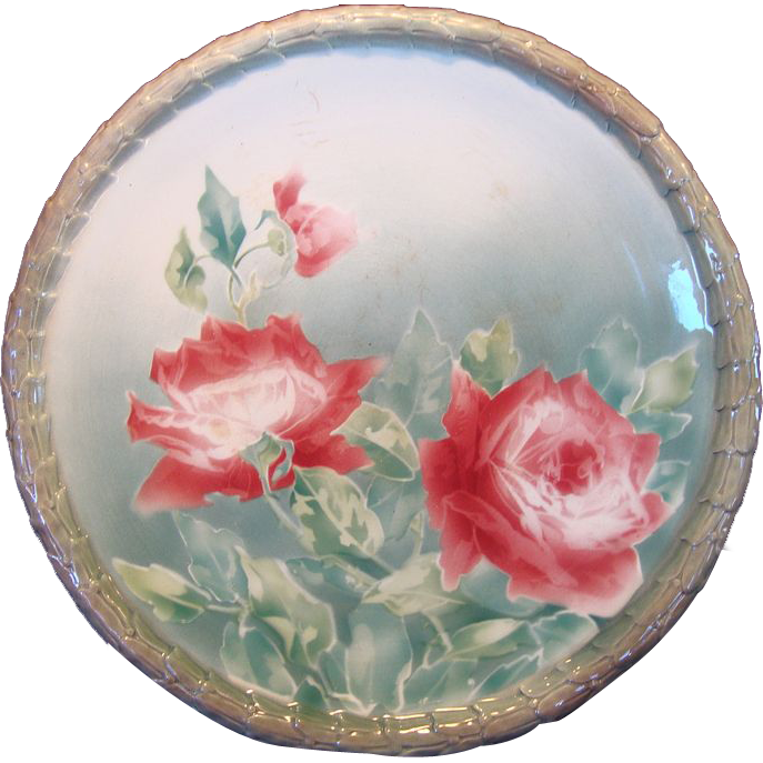 "Colorful French Majolica Faience 14 1/2 "" Charger With  Dark Pink Roses ~ Keller & Guerin, France 1890-1930"