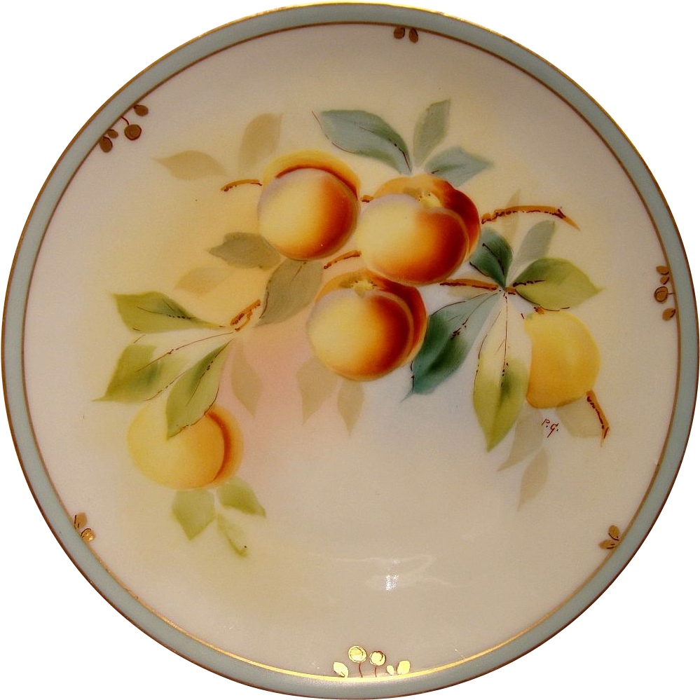 Wonderful Pickard Studio Plate Hand Painted with Peaches or Apricots by Paul Gasper ~ Pickard Studios Chicago IL 1912-1918