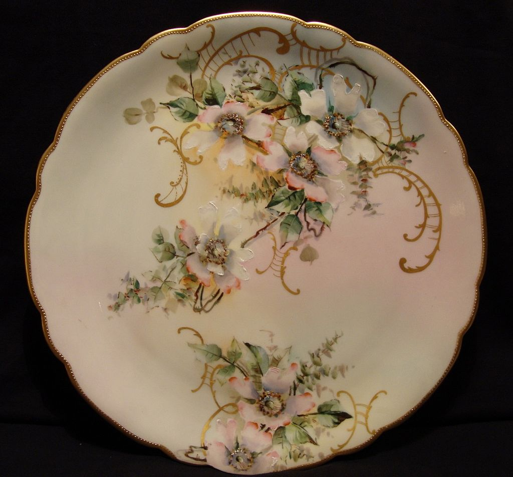"Amazing 12 ¾"" Limoges Porcelain Charger ~ Hand Painted with Wild Pink & White Roses ~ Artist Signed ~ Jean Pouyat France 1890 - 1903"