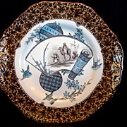 "Awesome  English, Aesthetic Transferware 10"" Cake Plate  ~ "" Cairo Series"" ~ W.T. COPELAND & SONS  (Staffordshire, UK) - ca 1867s - 1890s"