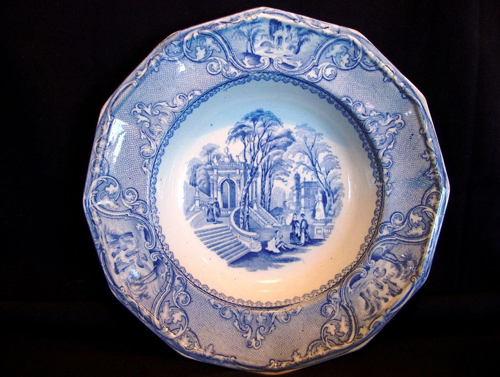 Museum Quality 12 Sided English Aesthetic Transferware Serving Bowl ~ Blue & White Patras Pattern: Wood & Challinor W. & C. Tunstall Staffordshire England 1828 – 1843