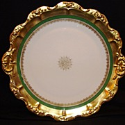 "Wonderful Limoges Porcelain 12"" Charger  ~ Gold Rococo rim with Green Band & Snowflake Medallion ~ Coiffe / Blakeman & Henderson ( B & H )1891-1914"