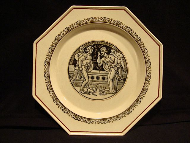 Wonderful English Earthenware ~ 8 Sided Plate with Transfer of a Shakespeare Scene from Romeo & Juliet ~ Minton  England 1880