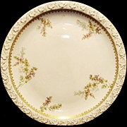 """Beautiful 12 ¼"""" Limoges Porcelain Charger / Tray ~ Factory Decorated with Pink, Violet and Yellow Flowers ~ Tressemann & Vogt ( T&V ) 1902-1907"""