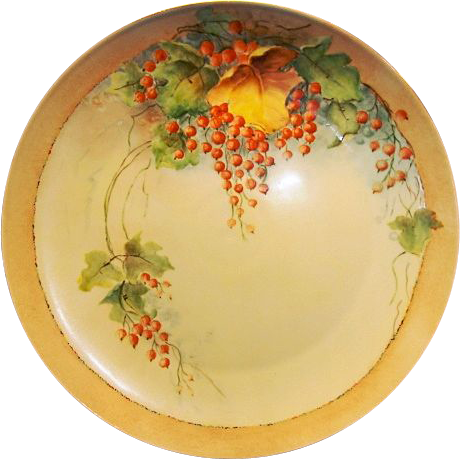"Awesome Bavarian Porcelain Charger 12 5/8"" ~ Hand Painted with Currants ~ F Thomas Porcelain Bavaria 1908+"