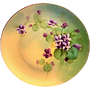 Pickard Studio Decorated ~ Cabinet Plate ~ Hand Painted by Artist Curtis Marker with Delicate Purple Violets  ~ Pickard Studios Chicago IL 1910-1912