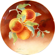 Wonderful Majolica Cabinet Plaque / Plate with Gorgeous Peaches ~ Signed Obert ~ KELLER & GUERIN - ERNEST BUSSIERE (Nancy, France) - ca. 1890s - 1930s