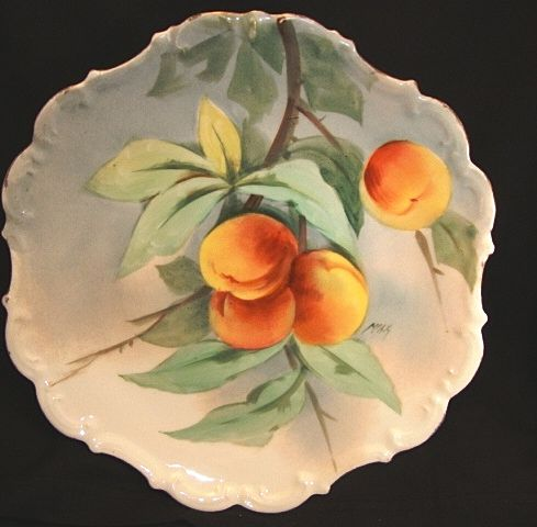 "Limoges Porcelain Charger / Plaque ~ Hand Painted with Delicious Looking Ripe Peaches ~ Artist "" Max "" Signed ~  Flambeau China 1890's-1914"