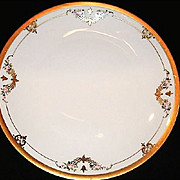 "Chop Plate / Platter ~ 12"" Art Nouveau ~Porcelain~Pickard Studio Decorated with Pink Flowers ~ Pickard Studios Chicago IL 1912-1918"