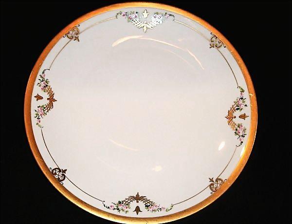 "Chop Plate / Platter ~ 12"" Art Nouveau ~Porcelain~Pickard Studio Decorated with Pink Flowers ~ Pickard Studios Chicago IL 1912-1918"