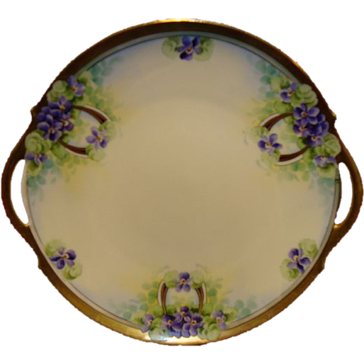 "Amazing 11"" Limoges Porcelain Cake Plate ~ Hand Painted with Purple Violets ~ Limoges France / Stouffer Studio 1906-1913"