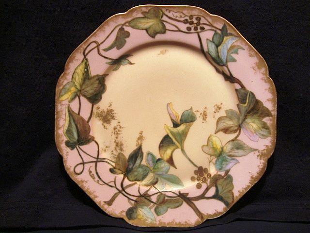 Gorgeous Limoges Porcelain Cabinet Plate ~ 122 yrs Old~ Hand Painted with Green Leaves & Vines ~ Haviland & Co 1888-1896