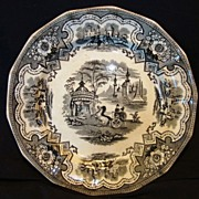 "Wonderful English Transferware 14 sided 8 5/8"" Plate / Bowl ~ Damascus Pattern in Black Transfer ~ W Adams & Sons 1829-1861"