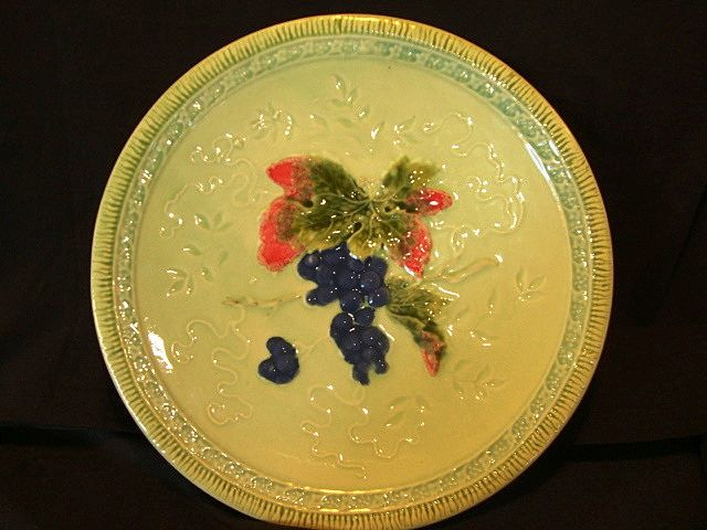 "Wonderful 12"" German Majolica Plate Hand Painted with Deep Purple Grape Motif ~ ZELL United Ceramic Factories - GEORG SCHMIDER (Baden Germany) - ca 1907 – 1928"